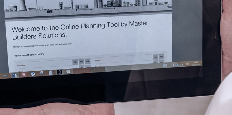 Screen of the Online Planning Tool for Master Builders Solutions